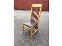 solid Oak & Leather Dining Chairs - set of 6