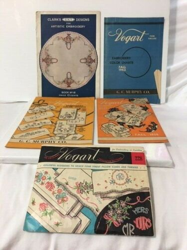 Vintage Embroidery Booklets Lot Clarks, Vogart, Transfer Patterns G.C. Murphy