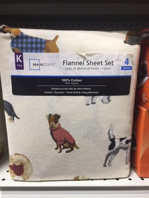 Dog Pattern Flannel Sheets King Size Mainstays Flannel 4 Piece Sheet Set (NEW)