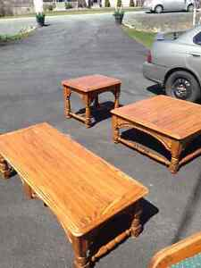 solid oak coffee and end tables over 40 years old