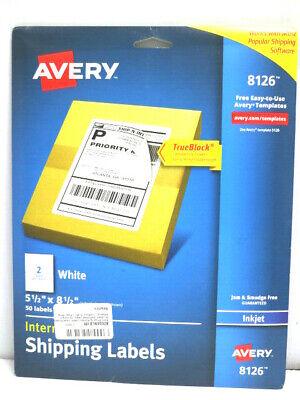 Avery 8126 Inkjet Mail Shipping Labels 50 Pk 5 12 X 8 12 Ups Postal White