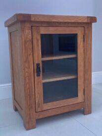 Solid Oak Glass Hi-Fi Media Storage Cabinet Living Dinning Room Furniture