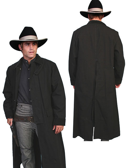 New Men`s Scully Rangewear  Long Canvas Duster Western Cowboy Black