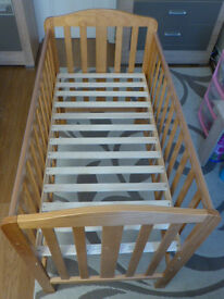 COT BED WITH CHANGING TABLE