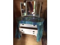 Old Fasioned Kidney Shape Dressing Table, glass top with curtain