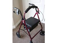 walking frame Rollator 4 wheeled in red aluminium. great condition. with storage