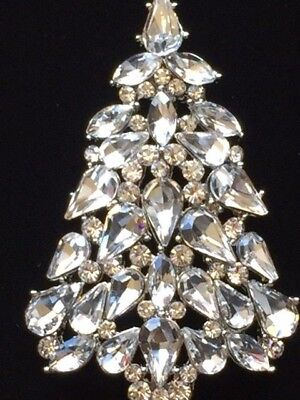 - Clear Pear Shape Austrian Crystal CHRISTMAS TREE PIN BROOCH JEWELRY 2.5