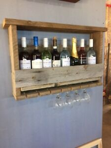 Rustic Wine Rack for 8 Bottles and 8 Glasses