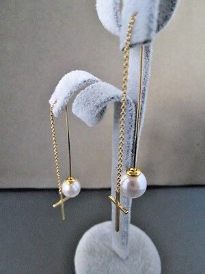 (Earrings Threader Cross & Faux Pearl Gold Plated Stainless Steel Female Fashion)