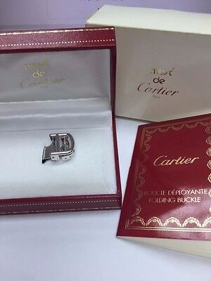 Authentic Must De Cartier 18K White Gold 14 mm Deployant Buckle Clasp NEW in BOX