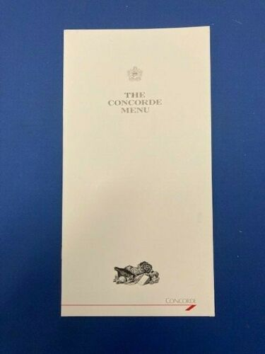 BRITISH AIRWAYS CONCORDE MENU AROUND THE WORLD CHARTER FLIGHT 1990 MINT