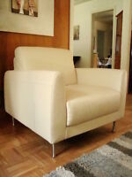 White leather chair and sectional