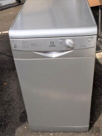 INDESIT IDS105 AAA RATING SILVER SLIMLINE DISHWASTER USED-FULL WORKING ORDER 5 WASH SETTING+AUTO DRY