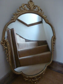 For Sale Mid Century VINTAGE PEERART ORNATE MIRROR Gilded Metal Framed Rococo Baroque Style 1950's