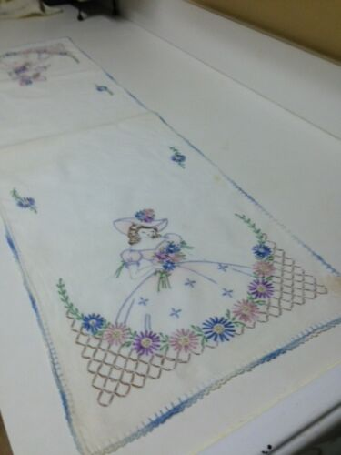 "Hand Embroidered Table or Dresser Runner 41 ½"" by 12 ½""  Just Laundered"