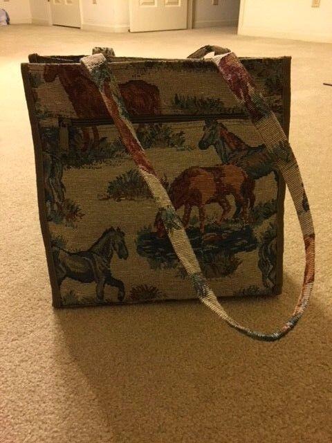 Jade Horse Equestrian Tapestry Tote Travel Bag - $16.00