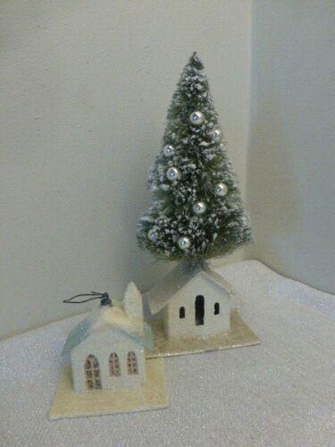 2 Bethany Lowe Christmas Mica Putz Houses One w Bottle Brush Tree + Ornament