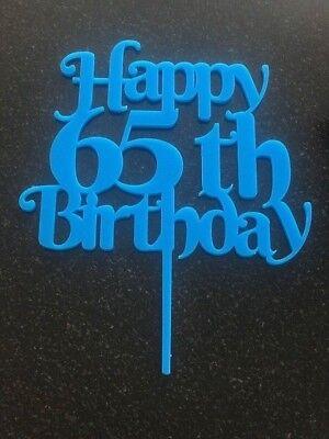 Happy 65th Birthday cake topper in light blue acrylic Happy Birthday celebration (Happy Birthday In Lights)