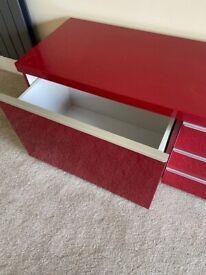 Ikea BESTÅ BURS TV bench, gloss red 180x41x49 cm
