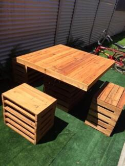 Recycled Pallet Furniture Table and Chairs Outdoor Set Garden New