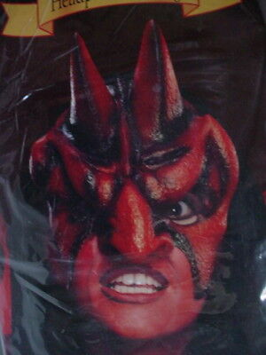 Costume With Red Hair (NOS RED DEVIL Head Piece with Wig Long Black Hair Horns Adult Costume Mask)