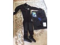 Ladies Otter Semi Drysuit and diving accessories for sale. Size 10/12. Used only once.