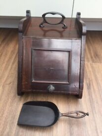 Vintage Wooden Hearth Coal Storage Box with metal handle. Collect Chichester