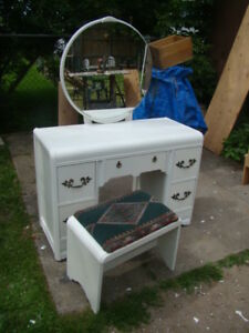 White vanity makeup dresser with mirror and bench