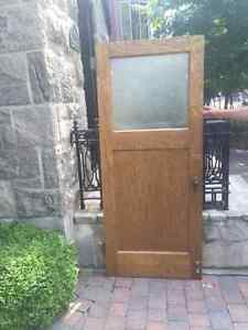Wooden Door with Stain Glass Window