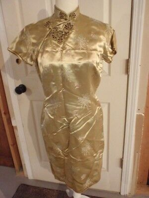 Mandarin Halloween Costume (Adult Halloween Costume Mandarin Gown Cheongsam Women Size 6 EU 36 Gold)