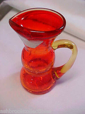 Hand Made in USA Crackle Glass Amberina Pitcher