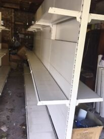 Used shop/warehouse shelves and slatwall fittings for sale