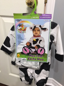 MOO COW COSTUME (6 - 12 MONTHS) - 4 PIECES