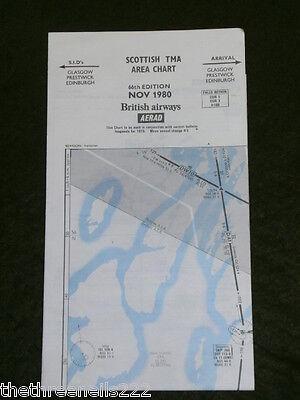 AVIATION CHART - SCOTTISH TMA AREA - NOV 1980 - 45x53cm