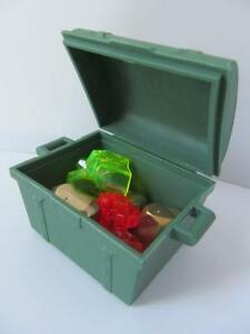 Playmobil Pirate/Castle/Palace: Green treasure chest jewels & golden nuggets NEW