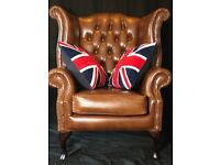 Handmade Chesterfield Leather Reproduction Wingback Chair