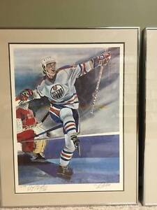 Limited Edition Autographed Gretzky, Messier, and Lowe Lithos