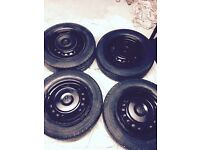 VolksWagen VW T4 Original Steel Wheels With Centre Caps. Set of 4. 5 x 112. Black. £230 o.n.o