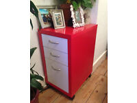 red/white drawer unit with wheels