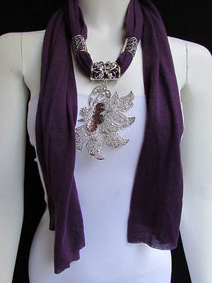 WOMEN PURPLE FABRIC FASHION SCARF LONG NECKLACE BIG SILVER BUTTERFLY PENDANT for sale  Shipping to India