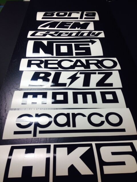 9 Car Sponsor Decal Pack BLACK Color! JDM Racing Stickers