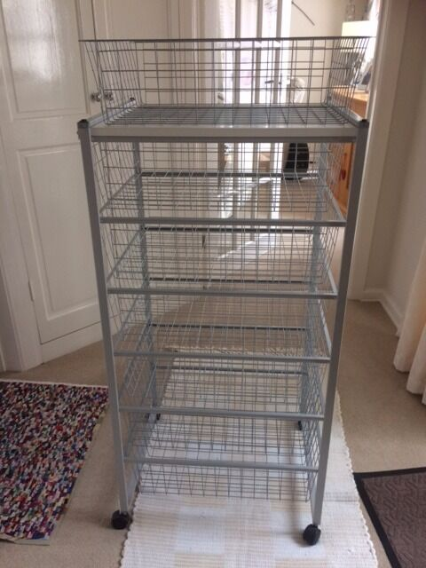 "Six tier storage systemin Bournemouth, DorsetGumtree - SIX DRAWER STORAGE SYSTEM Height 41 1/2 "" width 17 1/2"" depth 21"" Sliding Wire baskets. roller casters. gray. In very good condition being little used"