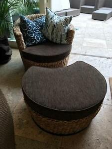 3 COMFY WOVEN WICKER CHAIRS WITH MATCHING OTTOMANS Vaucluse Eastern Suburbs Preview
