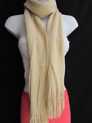 Acrylic Fabric Women Scarf (NEW WOMEN BEIGE SOFT FABRIC CLASSIC FASHION SCARF SHAWL LONG WRAP ACRYLIC )