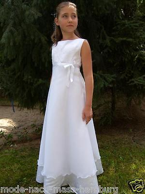 ❤ Kommunionkleid Gr. 134 Kommunionskleid Blumenmädchenkleid weiß NEU