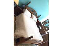 Fenwicks Solid Antique-Pine Double Bed w Matress, 2xbedside tables, dressing table, chest of 5 draws