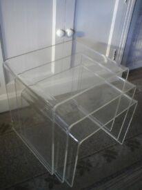 vintage 1970's nest of perspex tables