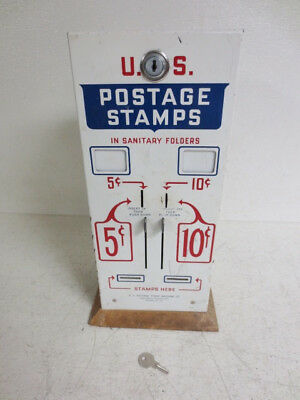 Vintage U.S. Postage Stamps Vending Machine Coin Op 5 & 10 cent Dispenser W/ Key
