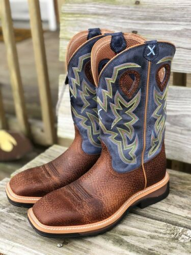 Twisted, X, Mens, Distressed, Peanut, &, Navy, Lite, Square, Toe, Western, Boots, MLCW016