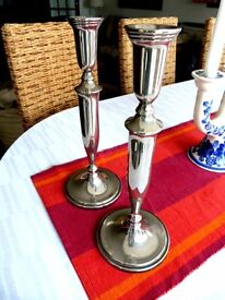 Victorian Style Silver Candlesticks Candleholders